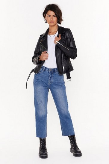 Womens Mid blue Cut Straight to the Point Cropped Denim Jeans