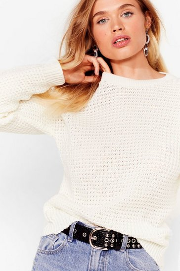 Cream Crew Neckline and Ribbed Edges Knit Sweater