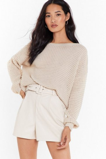 Oatmeal Crew Neckline and Ribbed Edges Knit Sweater
