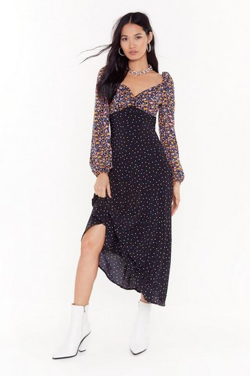 Black With Mixer Floral Midi Dress