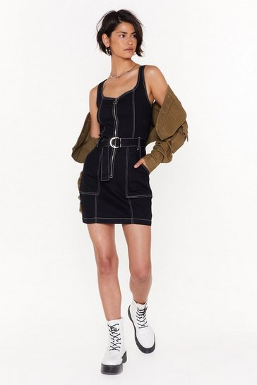 Black Just Sew You Know Denim Mini Dress