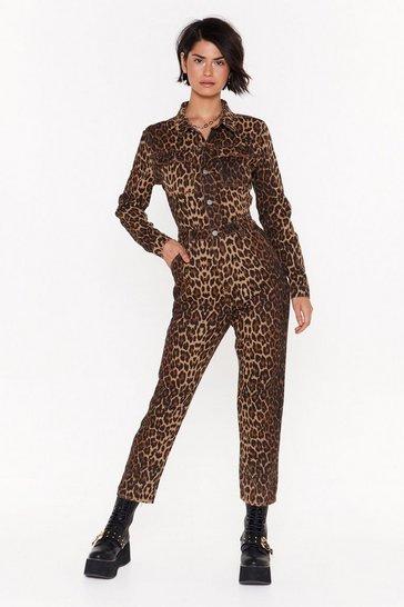 Brown Wild On Time Leopard Denim Boilersuit
