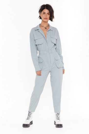 Blue Denim Boilersuit with Elasticized Waist