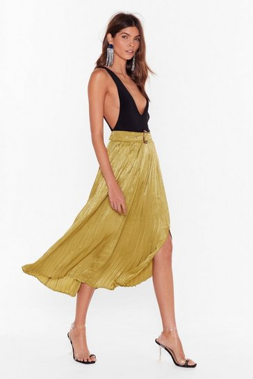 Olive Pleats to Meet You Satin Midi Skirt