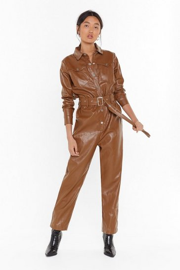 Womens Toffee Working On It Faux Leather Belted Boilersuit