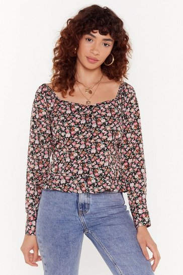 Womens Black Pretty Damn Good Floral Blouse