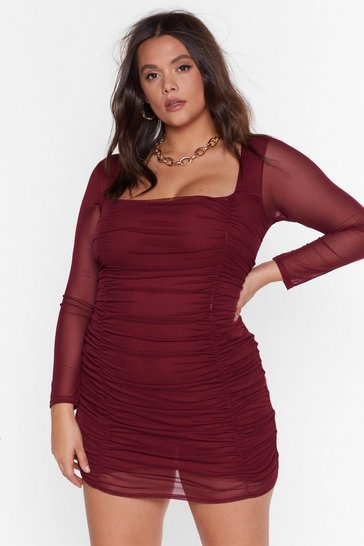 Womens Maroon On Our Mesh Behaviour Plus Mini Dress
