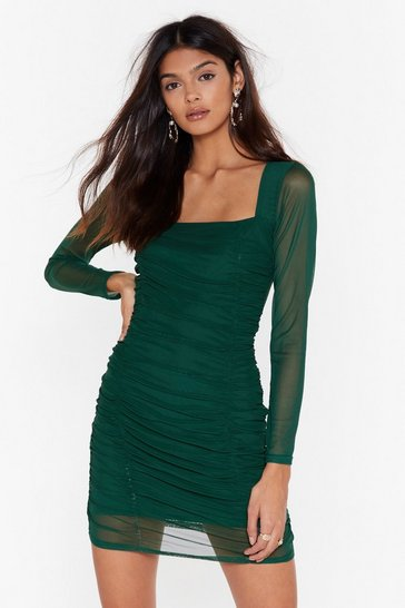 Womens Dark green On Our Mesh Behaviour Ruched Mini Dress