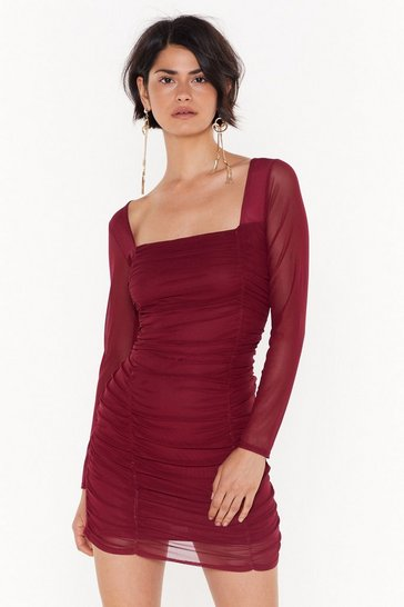 Womens Maroon On Our Mesh Behaviour Ruched Mini Dress