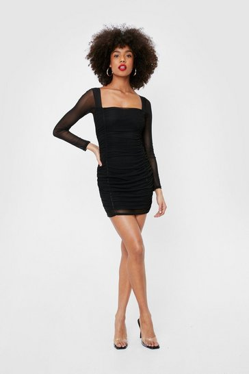 Black Sheer Sleeve Ruched Mesh Mini Dress
