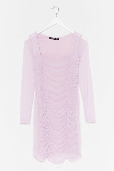 Lilac On Our Mesh Behaviour Ruched Mini Dress