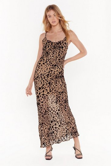 Womens Brown Forever Young Leopard Maxi Dress
