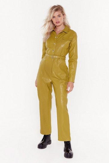 Lime Life on Mars Faux Leather Belted Jumpsuit
