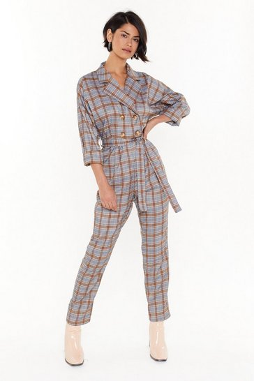 Womens Orange Background Check Tailored Belted Jumpsuit