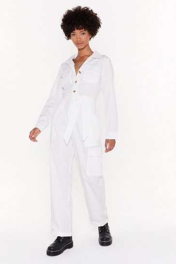Womens White We've Reached Boiling Point Belted Boilersuit