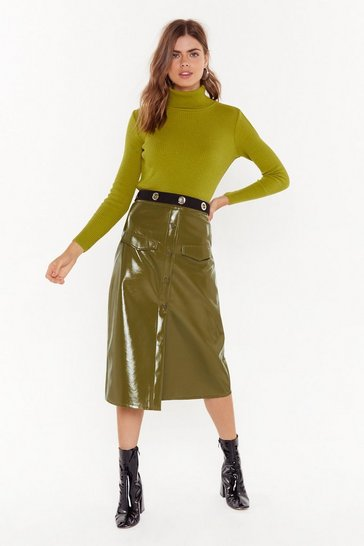 Womens Olive Rise and Shine Vinyl Midi Skirt