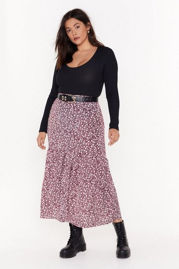 Womens Red Grow Your Worth Plus Floral Midi Skirt