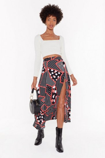 Womens Black Patch Me at the Bar Polka Dot Midi Skirt