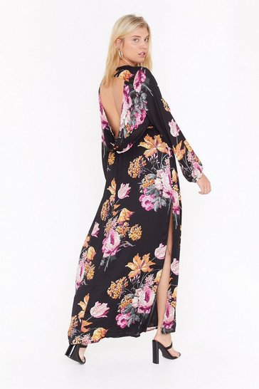 Womens Black Open Invitation Floral Maxi Dress