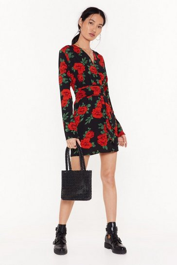 Womens Black Beauty and Grace Floral Mini Dress