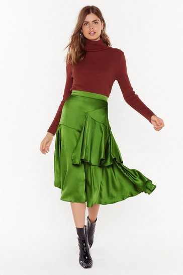 Womens Green Tier's What's Gonna Satin Midi Skirt