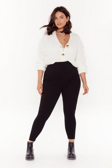 Womens Black Back to Basics Plus High-Waisted Leggings
