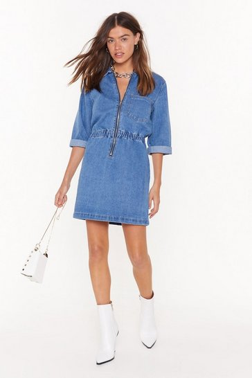 Womens Mid blue Bite Your Zip Denim Mini Dress