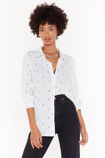 Womens White Shine Girl Star Chiffon Shirt