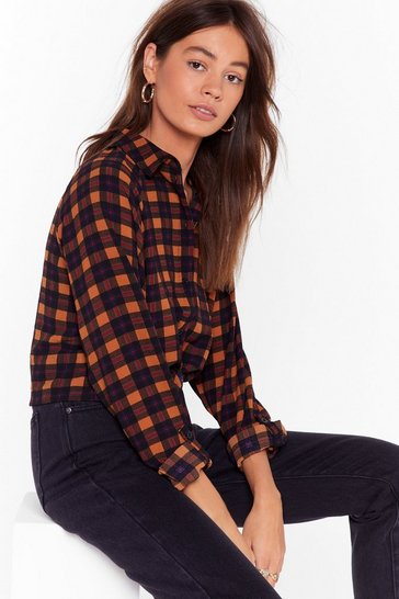 Brown Tie Our Love Check Cropped Shirt