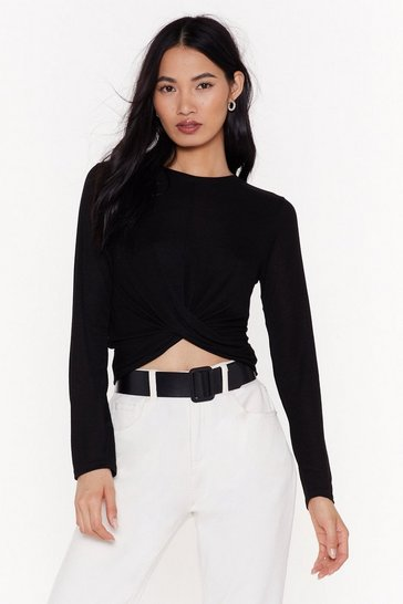 Womens Black Plot Twist Crop Top