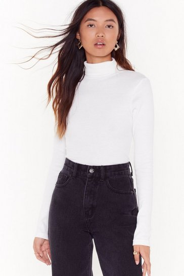 Womens White Rollin' With My Homies Ribbed Turtleneck Sweater