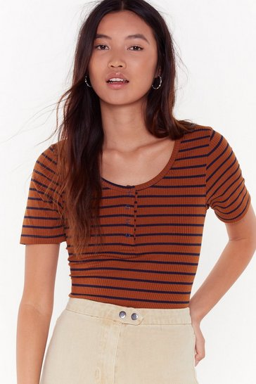 Womens Brown Believe the Stripe Ribbed Top