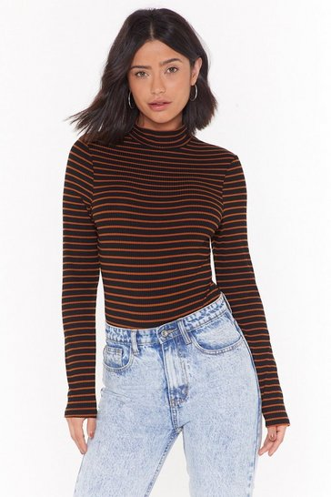 Womens Black Walk Stripe In Ribbed High Neck Bodysuit