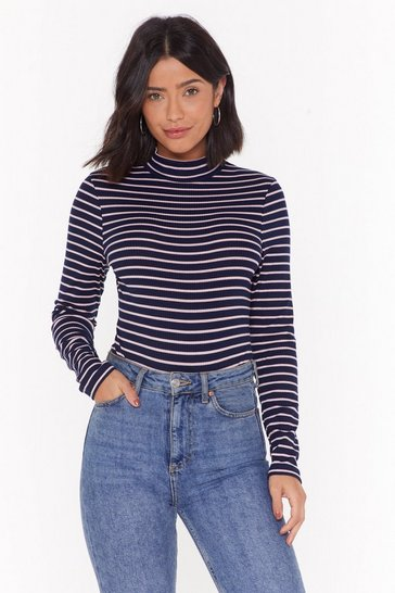 Womens Navy Walk Stripe In Ribbed High Neck Bodysuit