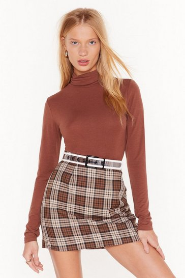 Womens Chocolate L/S Roll Neck Top