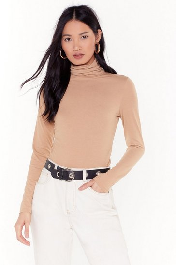 Womens Camel L/S Roll Neck Top
