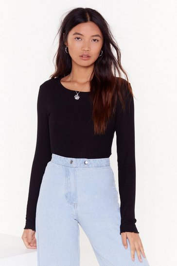 Womens Black Livin' on the Edge Crew Neck Ribbed Top
