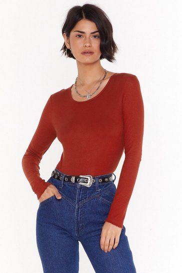 Womens Red Livin' on the Edge Crew Neck Ribbed Top