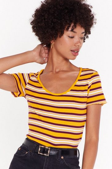 Womens Yellow Some Stripe of Love Retro Tee