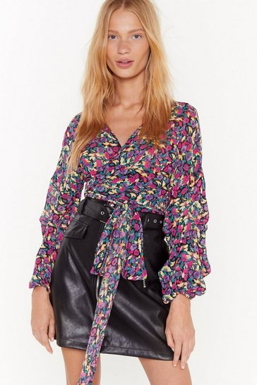 Womens Purple Floral Sleeve Detail Wrapover Blouse