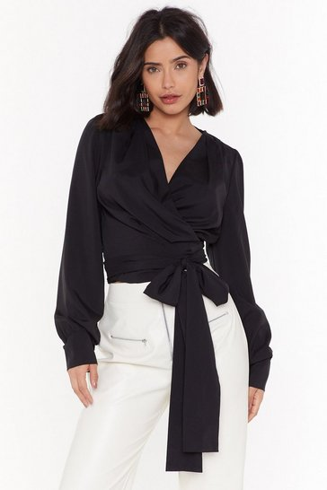 Womens Black Wrap Now Cropped Tie Shirt