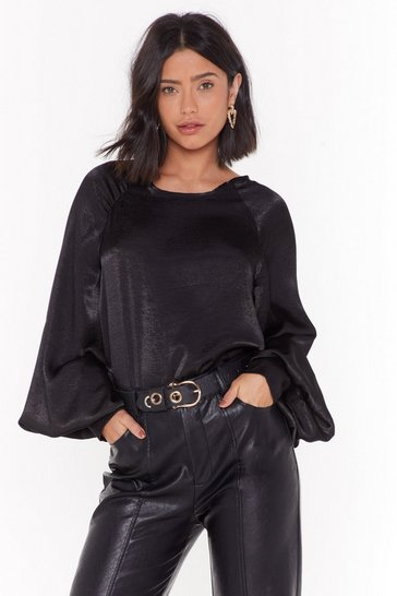Womens Black It's Bound to Satin Balloon Sleeve Blouse
