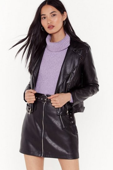 Womens Black Faux Leather Moto Jacket
