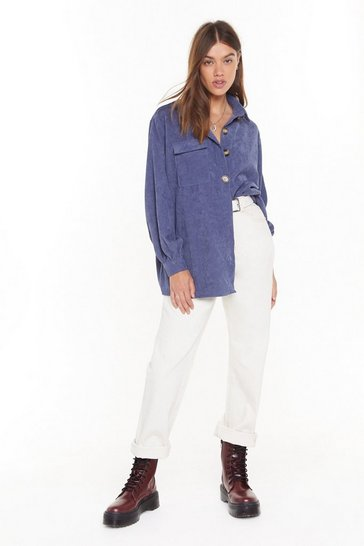 Womens Denim-blue Don't Texture Back Oversized Corduroy Shirt