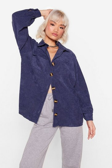 Denim Don't Texture Back Oversized Corduroy Shirt