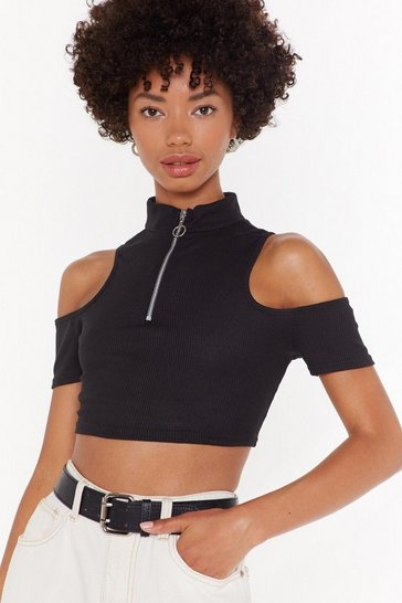 Womens Black Ribbed Cold Shoulder Zipper Crop Top