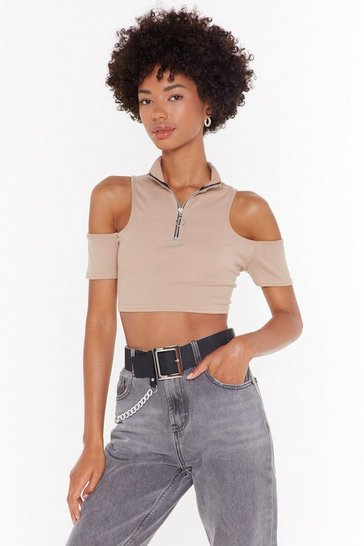 Womens Stone Ribbed Cold Shoulder Zipper Crop Top