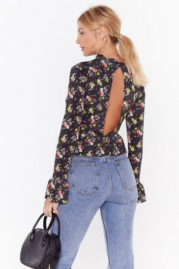 Womens Black It's Going Down Floral High Neck Blouse