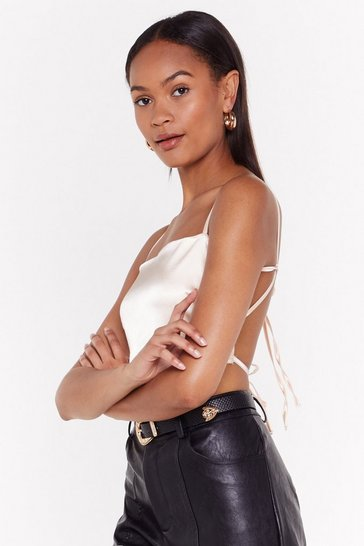 Champagne Back At It Satin Crop Top