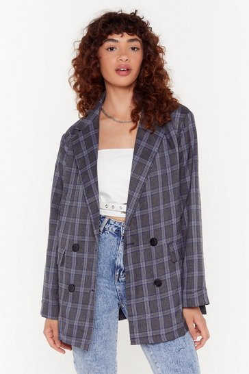 Womens Charcoal It's Been One Check of a Day Oversized Blazer